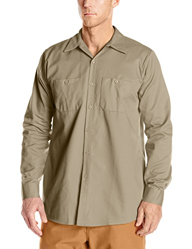 (Red Kap Men's Wrinkle-Resistant Cotton Work Shirt, Khaki, Large )