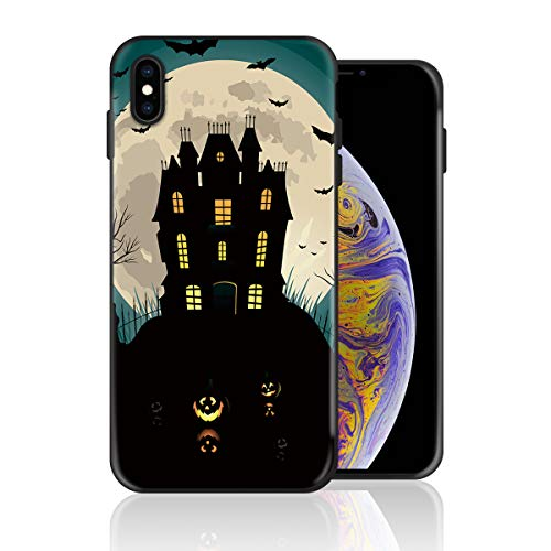 Silicone Case for iPhone XR, Halloween Dark Castle Bats and Pumpkin Design Printed Phone Case Full Body Protection Shockproof Anti-Scratch Drop Protection (College Halloween Party Tumblr)