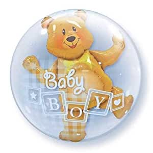 "24"" Baby Blue Bear Plastic Bubble Balloons"
