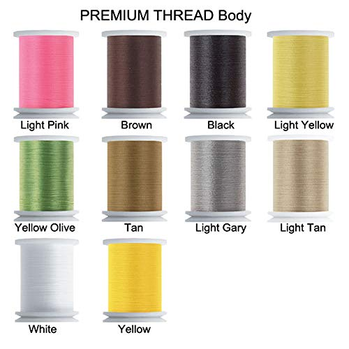 Riverruns Super Realistic Standard Thread 3/0,6/0,8/0,Twisted Thread, Body Thread Fly Tying Material Proudly from Europe Tie Flies Body (10 Color/Set Body Thread)
