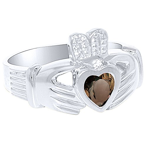 Unisex His or Hers Simulated Smokey Quartz Claddah Ring Love, Loyalty & Friendship Ring Sterling Silver or Yellow Gold Plated