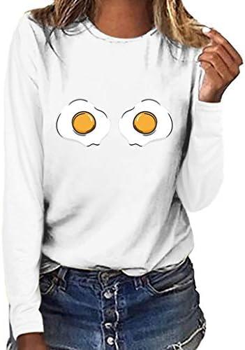 [해외]T-Shirt for Women 2019 New Long Sleeve Egg Print Tee Slim Fit Solid Tunic Top Blouse / T-Shirt for Women 2019 New Long Sleeve Egg Print Tee Slim Fit Solid Tunic Top Blouse (S, White)