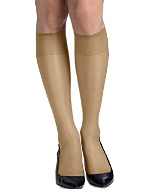 Hanes Silk Reflections Silky Sheer Knee Highs with Reinforced Toe 2-Pack (Nude, 1 Size)