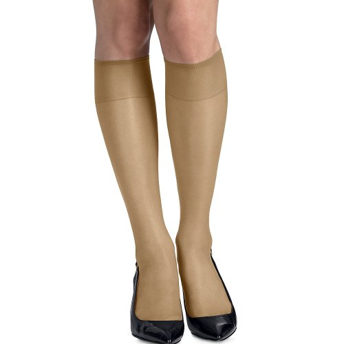 Knee Natural High (Hanes womens Silk Reflections Silky Sheer Knee Highs with Reinforced Toe 2-Pack(00775)-Natural-1 Size-2PK)
