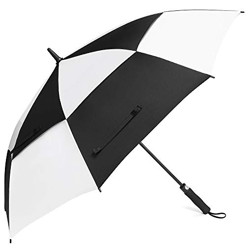Z ZAMEKA Golf Umbrella - 62 Inch Windproof Umbrellas Automatic Open with Sun Protection - Large Oversize Double Canopy Vented Rain Umbrellas for Men and Women (Golf 62 Inch White/Black)