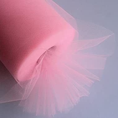 OurWarm® 6 Inch x 100 Yards (300FT) Tulle Roll Spool Tutu Skirt Fabric Wedding Party Gift Bow Craft (Pink / Light Pink)