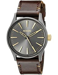 Nixon Sentry 38 Leather A377595-00. Gunmetal and Gold Men's Watch (38mm. Gunmetal/Gold Watch Face. 21mm Leather...