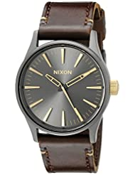 Nixon Men's A377595 Sentry 38 Leather Stainless Steel Watch With Brown Leather Band
