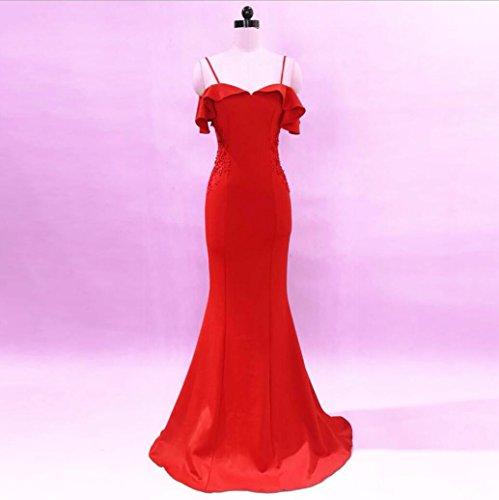 Nuevas Pescado Novia Sexy Dress Cola de Modas brindis Las anfitriona WBXAZL Rojo Slim lujosos Boda aBznHw5Iqx