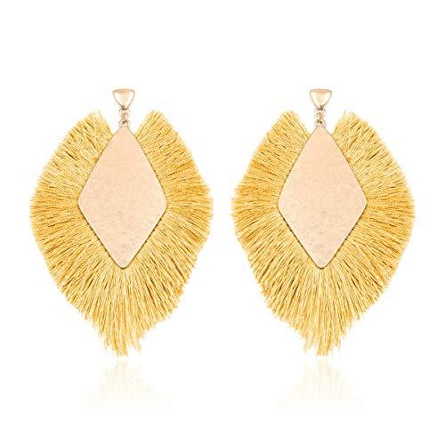 RIAH FASHION Bohemian Silky Thread Tassel Statement Drop Earrings - Strand Fringe Lightweight Feather Shape Dangles/Diamond Fan/Triangle Duster/Leatherette Teardrop (Diamond Fringe Drops - Mustard)