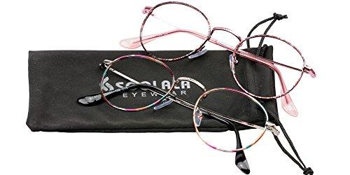 SOOLALA Womens New Retro Stylish Patterned Round Metal Frame Reading Glasses, WhitePink, 2.0x