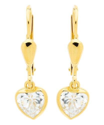 Diamantly Boucles D Oreilles Dormeuse Pendant Coeur Cristal Or