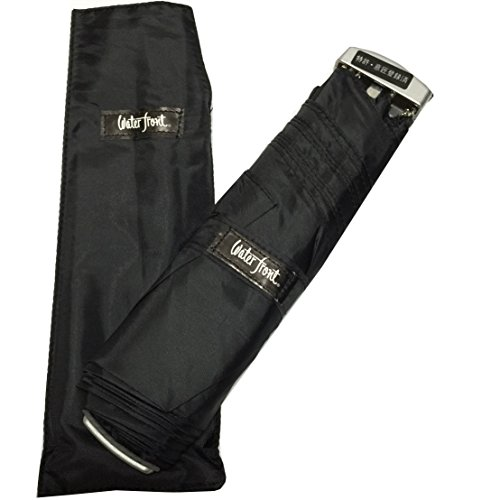 waterfrontウォーターフロント薄型折りたたみ傘ポケフラット特許取得済(Aブラック)