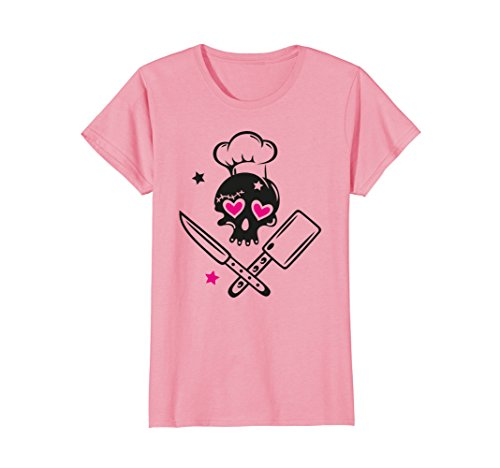 Chef Pink Hearts - Womens T-Shirt, Skull girlie with chef hat, knives and hearts. XL Pink