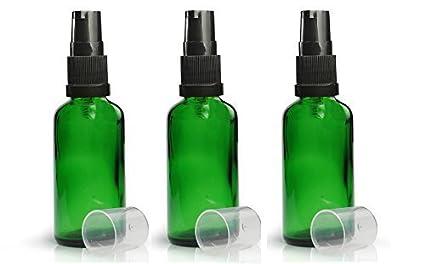 Pack de 3 x botellas de cristal verdes 50 ml con negro Loción/Bomba de