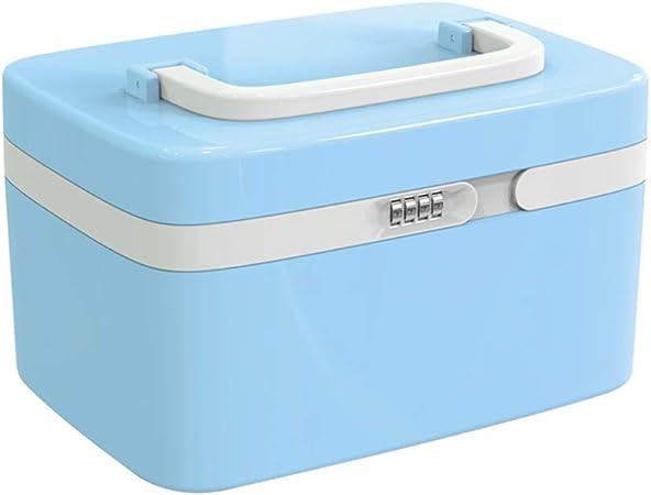 CWC Protección de contraseña Medicina Caja de almacenaje de contenedores de plástico Caja médica cosmética Caja portátil de Emergencia de Familiares Caja ABS 10L (Color : Blue): Amazon.es: Hogar