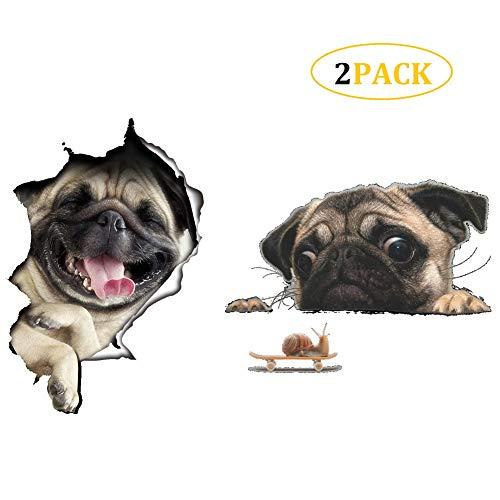 CheeseandU 2PCS Cute Bulldog/Pug Wall Sticker Living Room Bedroom Decor Animal Wall Stickers Removable Vinyl Art Murals 3D Wall Decals Bathroom/Refrigerator/Car Kids Wall Decals DIY Decor Gift ()