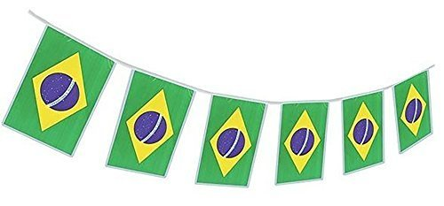 Brazil Flag Banner Brazilian Party Garland by Gabby Fun Corp