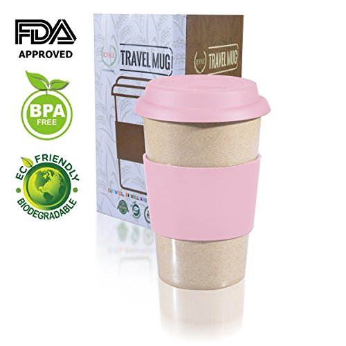 14oz 100% Organic Eco Friendly Reusable Travel Mug, ToGo Takeaway Coffee Cup Pink, Biodegradable Material FDA Approved BPA Free, Leak Proof Silicone Lid & Heat Resistant Grip.Free Recipe ebook (Plastic Travel Textured Mug)