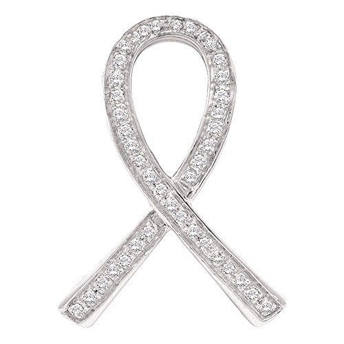 10k White Gold Diamond Breast Cancer Awareness Pendant Pink Ribbon Charm Fashion Style Fancy 1/10 Cttw