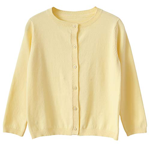 CUNYI Girl's Crewneck Lightweight Button-up Cardigan Cotton Knit Sweater Casual Outerwear, Light Yellow, 10~11 Years/150 ()