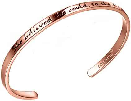 SOLOCUTE Cuff Bangle Bracelet Engraved