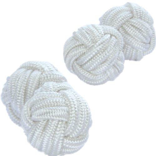 Pure White Silk Knot Cufflinks | Cuffs & Co