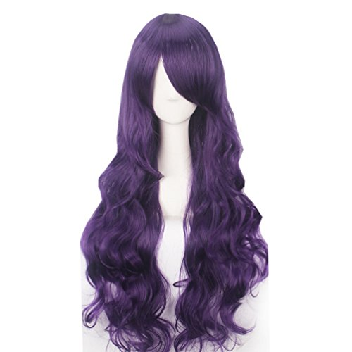 Dark Ages Adult Wig (Yesui 32'' 80cm Women's Full Wig Synthetic Heat Resistant Wigs Long Curly Hair Harajuku Costume Wigs for Cosplay Party Dark Purple)