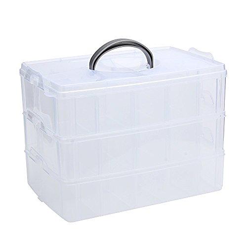 EYX Formula Plastic Transparent Handle Three Layers 30 Grids Storage Box Case,Portable Removable DIY Organize Box Makeup Box for Home Use (Diy Shadow Box Ideas)