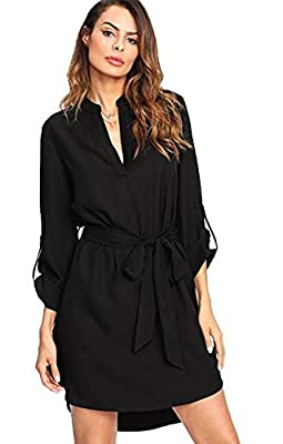 Kenoce Women's Long Sleeve High Low Asymmetrical Irregular Hem V Neck Self-Tie Waist Casual Shirt Dress