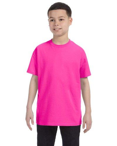 Gildan Big Boys' Heavyweight Taped Neck Comfort T-Shirt, Azalea, X-Small (Heavyweight Youth Azalea T-shirt)