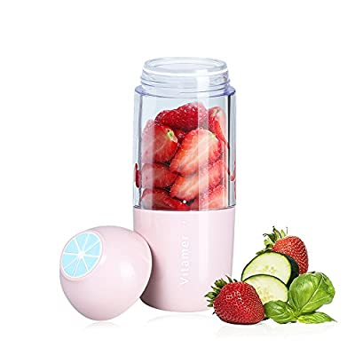 Portable Smoothie Blender, Carry360 Rechargeable Small Juice Blender Powerful Personal Size Shakes Blender Ice Blender for Home, Office, Picnic, Safe Double-Click Switch