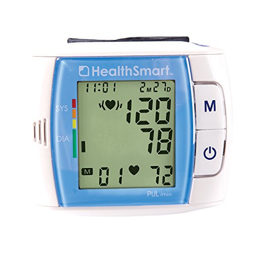 HealthSmart Automatic Wrist Blood Pressure Monitor with Fast Digital Readout and Expanded Memory, Compact, Lightweight, Irregular Heartbeat Detector, Blue