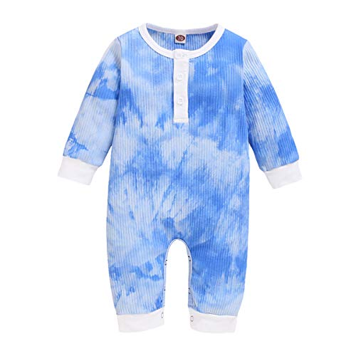 YOUNGER TREE Newborn Infant Baby Girl Boy Fall Outfit Clothes Long Sleeve Tie-dye Romper Button One-Piece Jumpsuit 0-18M