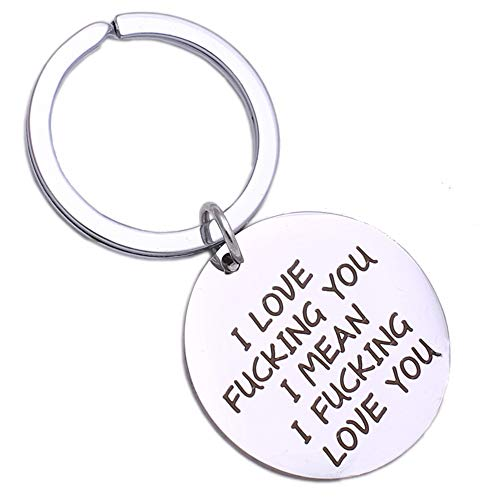 TACVEL Funny Keychain for Boyfriend Husband, Naughty Couple Gift - I Love Fucking You I Mean I Fucking Love You
