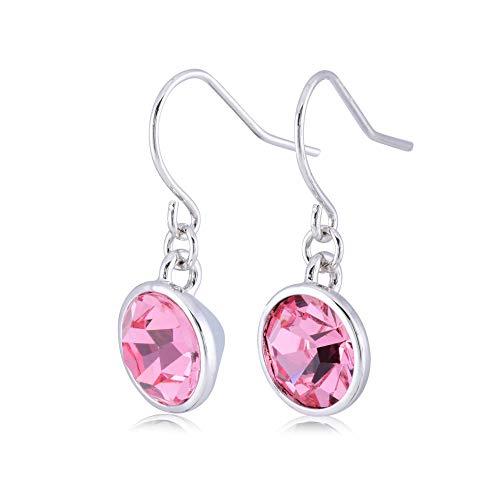 (UPSERA Light Pink Drop Dangle Earrings for Women Girls Crystals from Swarovski Silver Tone Plated Earrings Jewelry)