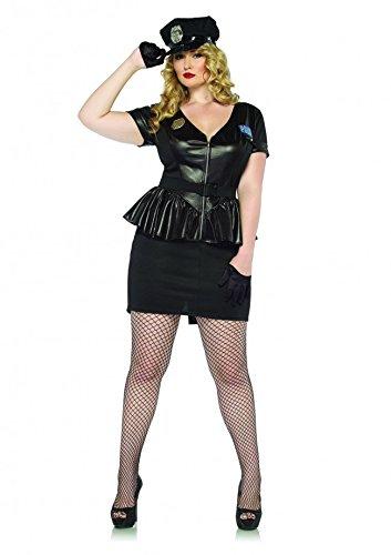 Leg Avenue Women's Plus-Size 3 Piece Traffic Stop Cop, Black, 1X/2X (Halloween Costumes Cop Woman)