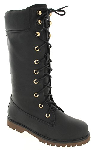 SZ Ladies Womens Winter Army UP Boots Combat Black Biker Lace Flat Wide Knee Other Calf High 56Wxn15
