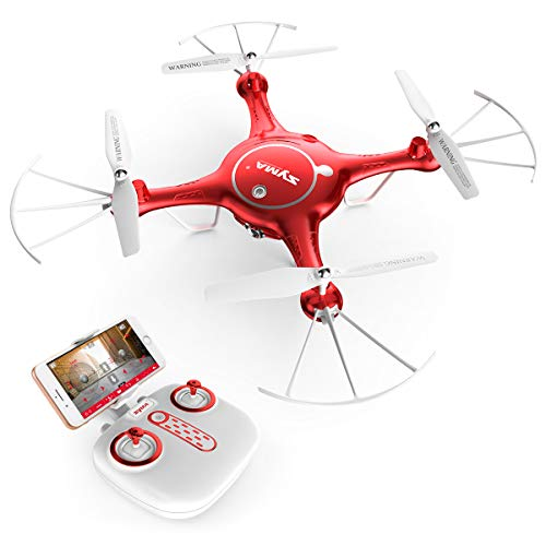 Syma X5UW RC Drone with Camera Live Video FPV Remote Control Quadcopter with 120°FOV 720P HD WiFi Camera – Altitude Hold Headless Mode 3D Flips One Key Take-Off/Landing, Color Red