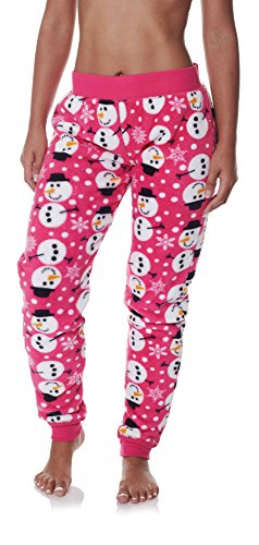 Sleep & Co Womens Super Soft and Comfortable Snowman Skinny Fleece Pajama Pant Pink Medium