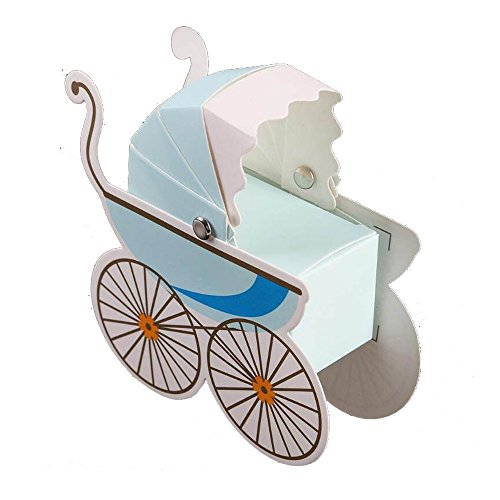 HLJgift Creative Baby Carriage Stroller Favor Gift Box Christening Baby Shower Party Favors Baby Birthday Party Gift Bag Boxes 50PCS (Blue) (Baby Shower Favors Gifts)