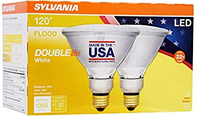 SYLVANIA General Lighting 40244 Sylvania Watt Equivalent, PAR38 LED Light Bulbs, Non-Dimmable, White Color 3000K, Made in The USA with US and Global Parts, 2 Pack, Bright