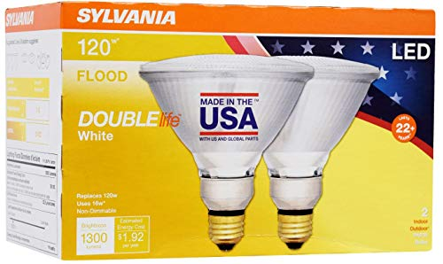 SYLVANIA General Lighting 40244 Sylvania 120 Watt Equivalent, PAR38 LED Light Bulbs, Non-Dimmable, Color 3000K, Made in The USA with US and Global Parts, 2 Pack, Bright White