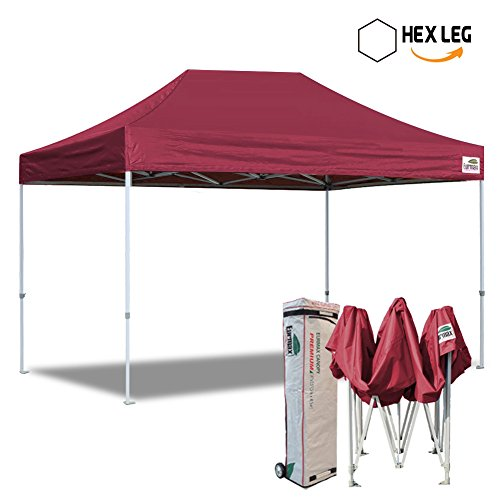 Eurmax 10×15 Ft Premium Ez Pop up Canopy Instant Shelter Outdoor Party Gazebo Commercial grade Bonus Roller bag (Burgundy)