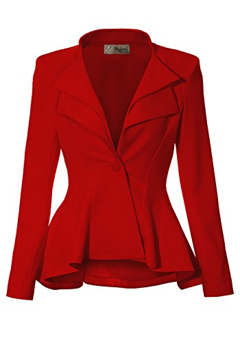 Women Double Notch Lapel Office Blazer JK43864 1073T RED 3X]()