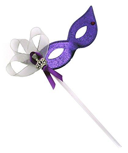 Royal Fascination Purple Women's Masquerade Mask on a Stick