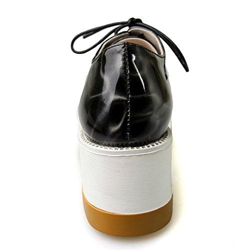 zapatos de moda de la primavera/Puntiagudo de charol con cordones zapatos de plataforma/circular con zapatos casuales suela gruesa A