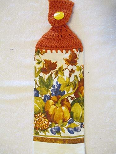Crocheted Fall Fruit Cornucopia Kitchen Towel with Orange Yarn