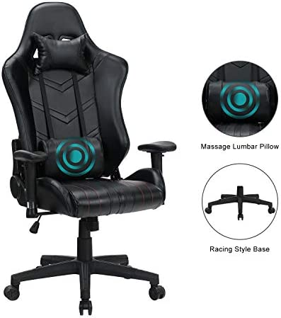 HEALGEN Massage Gaming Chair Office Chair with Heavy Duty Metal Base,Reclining High Back PU Leather PC Computer Racing Desk Chair with Footrest and Lumbar Support