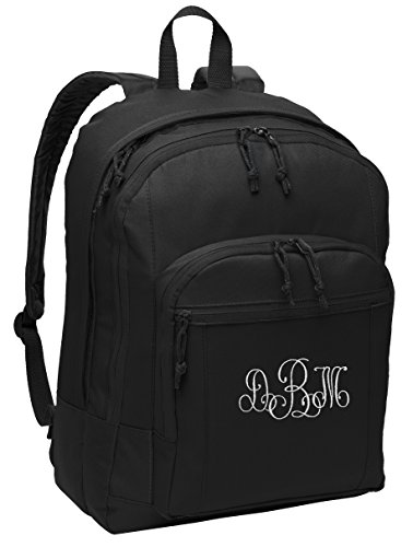 Personalized Black Port Authority Basic Backpack with Embroidered Lace Monogram -